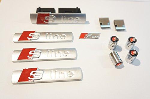 Kit per AUDI S, Badge per griglia + 3 badge per vano portabagagli posteriore con stemma & tappi per valvola ruota A1 A3 A4 A5 A6 S3 S4 S5 TT Q5 Q7