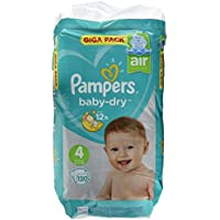 Pampers Baby Dry, Taille 4, 9–14kg, Mega Plus Pack, 120Pièces