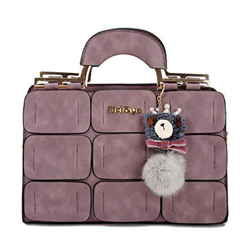 ZWYKH Tasche FrüHling Handtaschen Flut Palace UmhäNgetasche NäHgarn Boston Tasche Haar Ball Tragbare Messenger Bag -