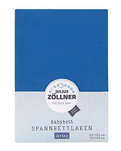 Julius Zöllner 8320147760 - Spannbetttuch Jersey für das Kinderbett, Größe: 60x120 / 70x140 cm, Farbe: blau