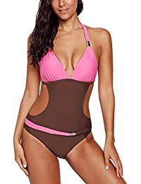 0783b304d9 FIYOTE Womens Halter Neck Monokini Swimwear Cut Out Push-up One Piece  Swimsuit