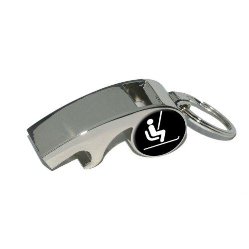 Preisvergleich Produktbild Skifahren Ski Lift–Vergoldetes Metall Whistle Flaschenöffner Schlüsselanhänger Ring