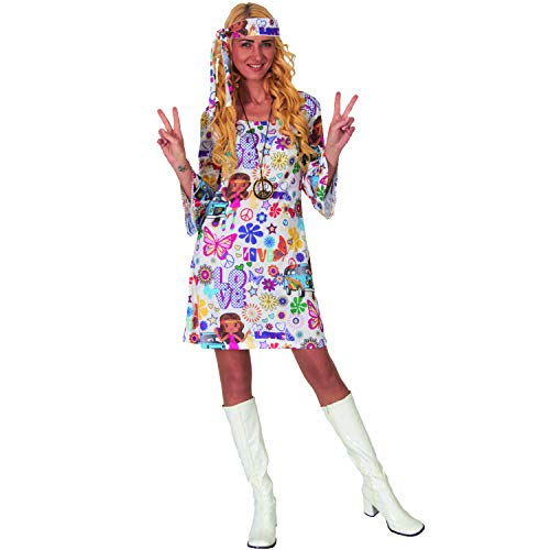 Damen Kostüm Hippie Alice Coachella 70er Fasching Karneval Mottoparty (S)