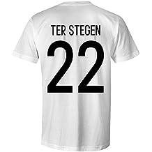 90a0d6c21ac50b Marc-Andre ter Stegen 22 Germany International Kids Football T-Shirt  White Black