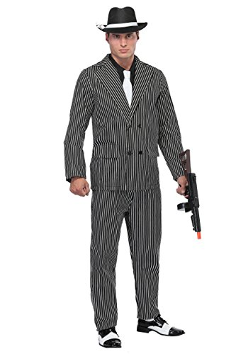 Men's Wide Pin Stripe Gangster Fancy Dress Costume ()