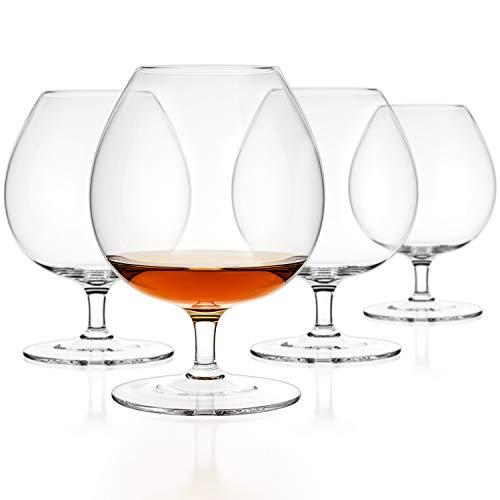 Luxbe Brandy & Cognac Kristallglas Snifter, 4 Stück, groß, handgefertigt, 100% bleifrei, kristallklar, ideal für Spirituosen, Bourbon - Wein - 65 ml 16005 farblos Clear Crystal Brandy