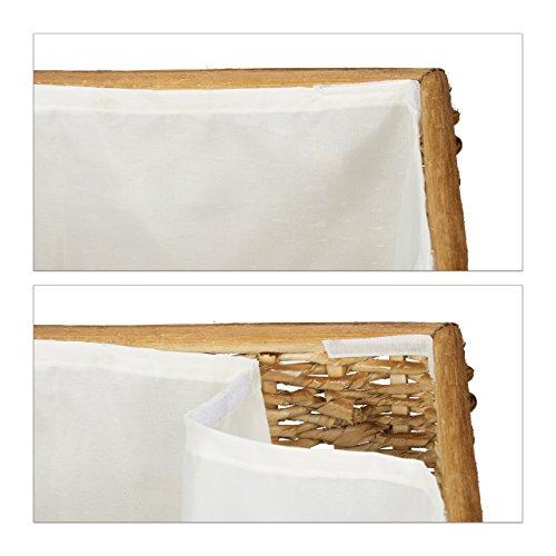 Relaxdays 3er Set Buri H x B x T: 39 x 60 x 37,5 cm Flechtoptik mit Deckel 71 L Korbtruhe mit herausnehmbarem Innenfutter Aufbewahrungstruhe atmungsaktiv stapelbare Wäschetruhe Natur, honigbraun - 6