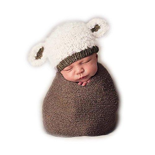 Neugeborene Junge Mädchen Handarbeit Gehäkelte Baby Kostüm Fotoshooting Lamm Hut (Girl Lucky Kostüm)