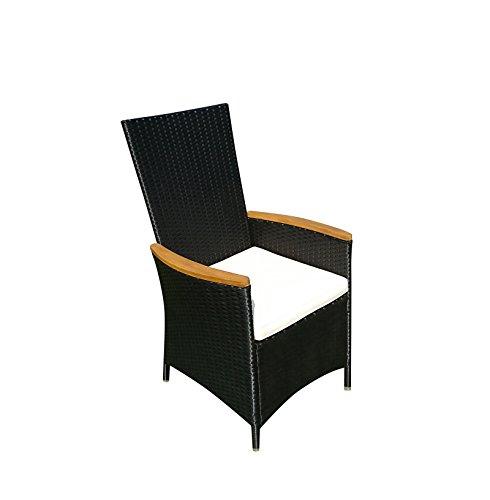 SAM Polyrattan Gartenstuhl, Stuhl in anthrazit mit FSC 100% zertifizierten Armlehnen aus Akazieholz,...