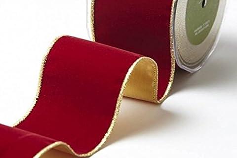 En Velours Rouge foncé avec dos et or ruban bord doré 60mm par peuvent Arts sur un 1m Longueur (Note: Cette Coupe est de un