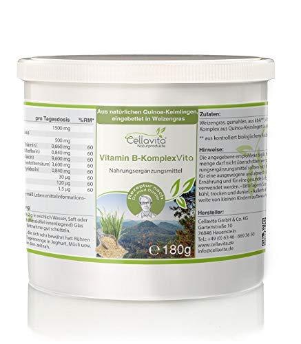 CELLAVITA Vitamin B-Komplex Vita   natürliche Quinoa-Keimlinge, eingebettet in Weizengras   Lückenloser Komplex aller B-Vitamine (180g)