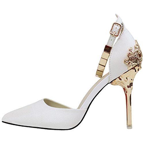 Oasap Women's Fashion Pointed Toe Ankle Strap High Heels Pumps White