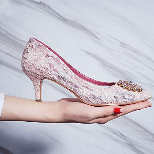 Yukun Schuhe mit hohen Absätzen Pointed High Heels Lace Fairy with Stiletto Girl was Thin Pointed High Heels Women, Pink, ()