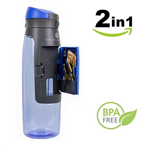 Sanczel & Steinfeld Sport Trinkflasche mit Fach | Wasserflasche 750ml aus Tritan | Auslaufsichere Sportflasche für Outdoor, Fitness, Gym, Yoga, Wandern | Flasche BPA-frei | Water Bottle