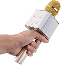 Ceuta, New Q7 Wireless Bluetooth Mike (Microphones) for Karaoke Singing, Best Sound Quality for Parties, Get Together - Golden.
