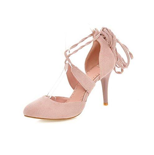 AgooLar Damen Mattglasbirne Spitz Zehe Hoher Absatz Schnüren Rein Pumps Schuhe Pink