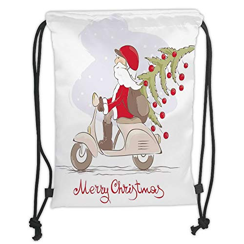 LULUZXOA Gym Bag Printed Drawstring Sack Backpacks Bags,Christmas,Vintage Print Santa on Motor Bike with Red Helmet Tree Decorations in Snow,White Gray Red Soft Satin, - Snow White Motor