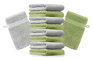 10er Pack Waschhandschuhe Waschlappen Premium Größe 16x21 cm Farbe Apfel Grün & Silber Grau Kordelaufhänger 100% Baumwolle
