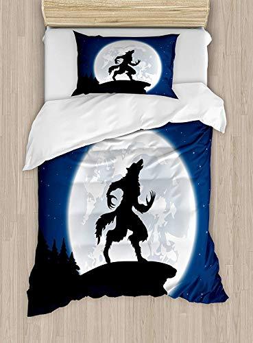Soefipok Wolf-Bettbezug-Set Twin Size, Vollmond Nachthimmel Knurren Werwolf Fabelwesen im Wald Halloween, dekorativ 2-teiliges Bettwäscheset mit 1 Kissenbezug, Dunkelblau, Schwarz, Weiß