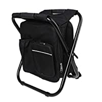 JumpXL 4 Colors Multi-functional Backpack Cooler Chair Compact Portable Folding Stool Perfect for Outdoor Events Picnic Travel Hiking Camping Tailgating Beach Parades and More (Black)