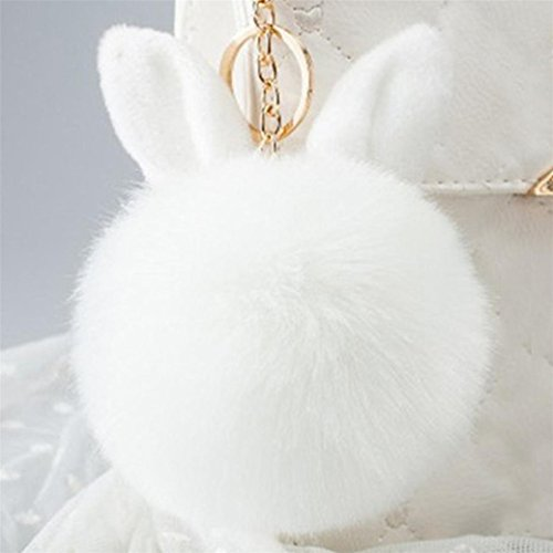 Fami Donne Pelliccia del coniglio sfera Portachiavi Bag Plush Car Key pendente dell'anello chiave auto WH