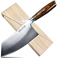 Kiaitre Cleaver Knife 7 Inch - High Carbon German Steel Chinese Chef Knife with Pakkawood Handle, Vegetable Meat Cleaver Knife with case, Anti-rust Kitchen Knife for Cooking