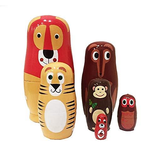 xMxDESiZ 6pcs / Set Animaux de Dessin animé Russe poupées gigognes en Bois Matryoshka Jouet Fait à la Main