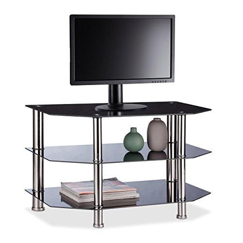 Relaxdays Fernsehtisch Schwarzglas, 3 gehärtete Glasablagen, gummierte Standfüße, Edelstahl, 49x80x45cm, schwarz/Silber - Glas Runden Podest