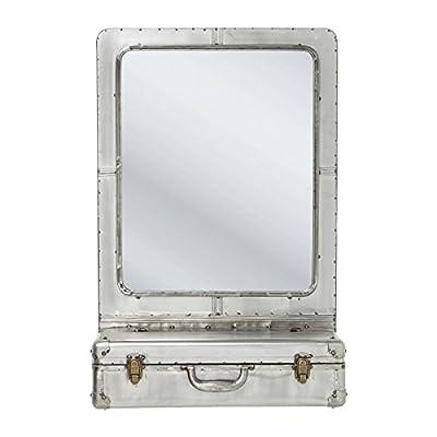 Kare 80691 Spiegel Suitcase Möbel, Metall, silber, 23 x 55 x 85 cm