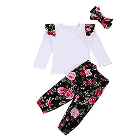 Bornbay Baby Overall Outfits für Mädchen Blumen Kleidung Top Hose Stirnband Tuch Set 0-24 Monate (Baby-kürbis-kostüm Uk)