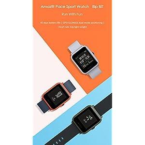 Gshopper Amazfit Bip - Reloj inteligente, edición juvenil con sistema Glonass, GPS, frecuencia cardíaca, entrenamiento deportivo, pantalla de 3,25 cm (1,28 pulgadas), ultraligero, 32 g, impermeabilidad IP68, 45 días en modo espera, mujer, naranja