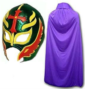 Son of the Devil grün Fancy Kleid Mexikanischen Wrestlers Erwachsene Mexican Wrestling Maske W/Violett - Wrestling-cape Mexikanische