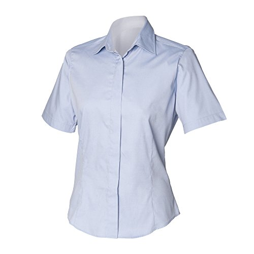 Henbury Damen Oxford Bluse, Kurzarm, körperbetont Weiß