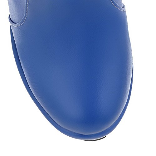 VogueZone009 Femme à Talon Haut Couleur Unie Rond Zip Bottes avec Métal Bleu