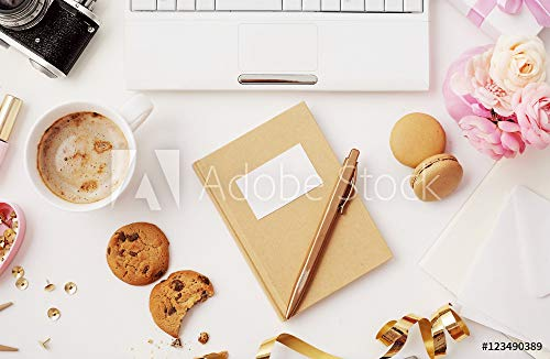 druck-shop24 Wunschmotiv: Flat Lay of Womans workspace with Diary, Notebook and Office Accessories #123490389 - Bild auf Alu-Dibond - 3:2-60 x 40 cm / 40 x 60 cm (Lay Flat Notebook)