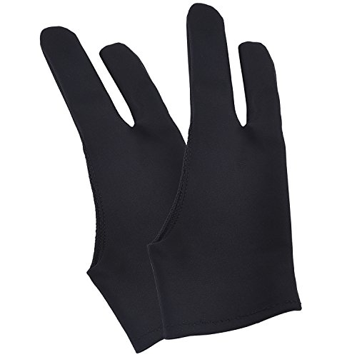Mudder Tablet Glove Artist Anti-fouling Drawing Glove for Tablet, Pad and Art Creation, Black, 2 Pieces Test