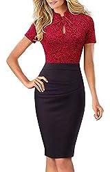 HOMEYEE Damen Vintage Stehkragen Kurzarm Bodycon Business Bleistift Kleid B430 (EU 38 = Size M, Rot + Schwarz)
