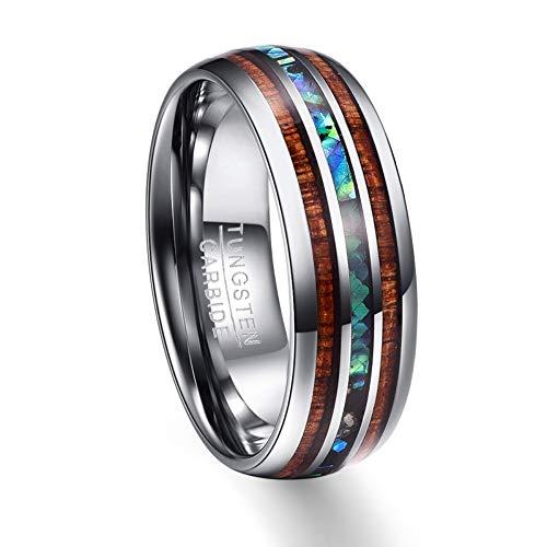 ZHOUYF RING Verlobungsringe 8 Mm Poliert Matte Abalone Shell Wolframcarbid Ring Für Männer Volle Größe, 14# (Größe 14 Verlobungsringe Für Männer)