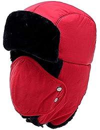 Holzfällermütze mit Fell rot//schwarz warm Wintermütze Fellmütze Tschapka NEU