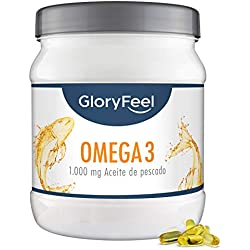 GloryFeel® Omega 3 de Aceite de Pescado - 1000 mg - 400 Cápsulas de Omega 3 - Gran Potencia - Acidos Grasos Omega 3 EPA [180 mg] de EPA y de DPA [120 mg]- Calidad Alemana