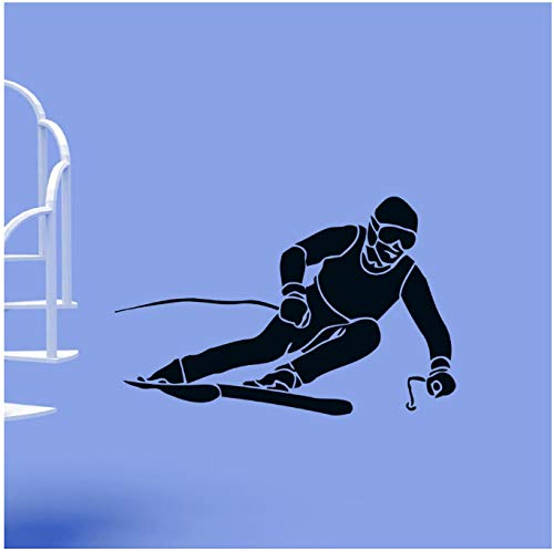 Wand Vinyl Aufkleber Skifahrer Ski Extreme Winter Sport Aufkleber Aufkleber Wohnkultur 74X114 Cm -