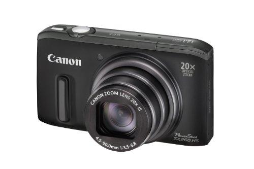 Canon PowerShot SX 260 HS Digitalkamera (GPS, 12,1 Megapixel, 20-fach opt. Zoom, 7,6 cm (3 Zoll) Display, bildstabilisiert) schwarz