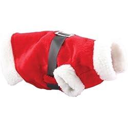 Littleduckling Rojo Navidad Mascota Cachorro Perro Gato Navidad Disfraz Santa Claus Capucha Mono Traje Traje - DISEÑO 1, 1 PAQUETE