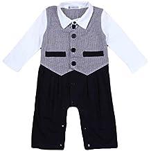 YOUJIA Pagliaccetti per bambino, Tutina di Neonati Pagliaccetto Tuxedo Outfit che coprono insieme con il Bowknot per Battesimo