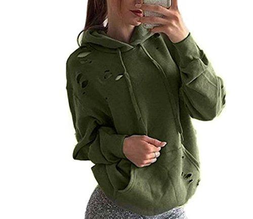 Sevenelks Damen Frauen Pullover Löcher Langarm Kapuzenpullover Sweatshirt Langarmshirt Oberteil