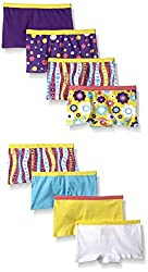Fruit of the Loom Big Girls Boyshort , Assorted, 10(Pack of 8)