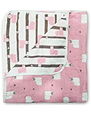 LUVLAP-BABY QUILT CUM WRAPPER-PINK SHEEP