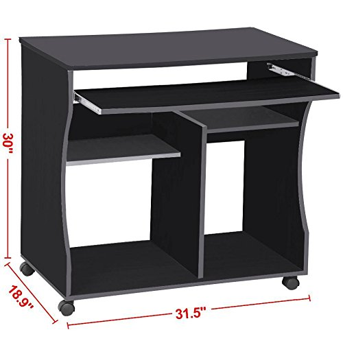 Popamazing 80 x 48 x 74 cm Black Computer Office Desk Table Workstation Sliding Keyboard 2 Shelves Study Workstation with Wheels