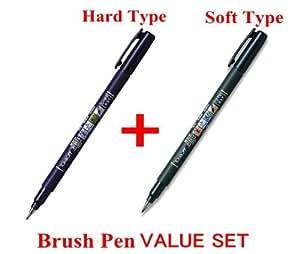 Tombow fudenosuke Brush Pen–Tipo di morbida e rigida di tipo 2penne Arts Set