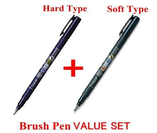 Tombow, Fudenosuke Brush Pen,penna a effetto pennello, set da 2 penne: 1 penna a punta morbida e 1 penna a punta dura